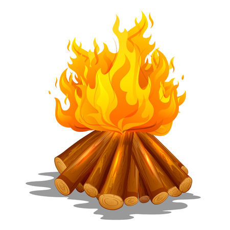 Blazing bonfire inferno fire on wood for outdoor camping or Lohri celebration Illustration