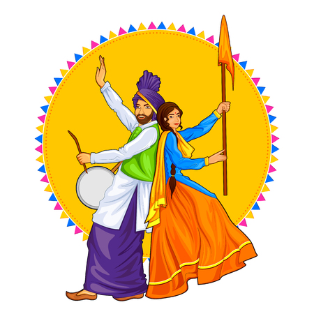 Sikh Punjabi Sardar couple playing dhol and dancing bhangra on holiday like Lohri or Vaisakhi