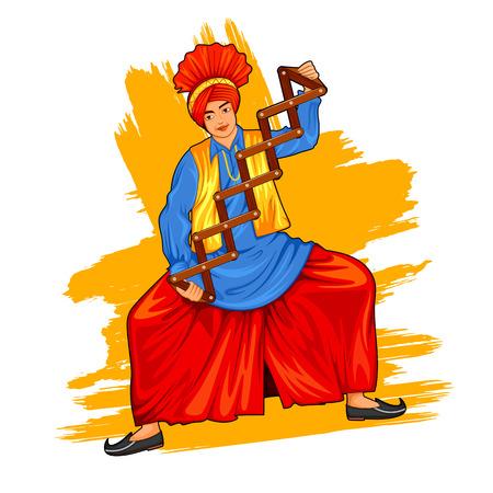 Sikh Punjabi Sardar doing bhangra dance on holiday like Lohri or Vaisakhi