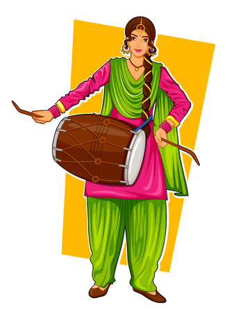 Sikh Punjabi Sardar woman playing dhol and dancing bhangra on holiday like Lohri or Vaisakhi