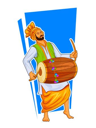 シーク・パンジャブ・サルダールは、ローリやヴァイサキのような休日にドールを演奏し、バングラを踊ります