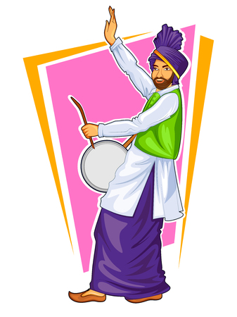 Sikh Punjabi Sardar playing dhol and dancing bhangra on holiday like Lohri or Vaisakhi