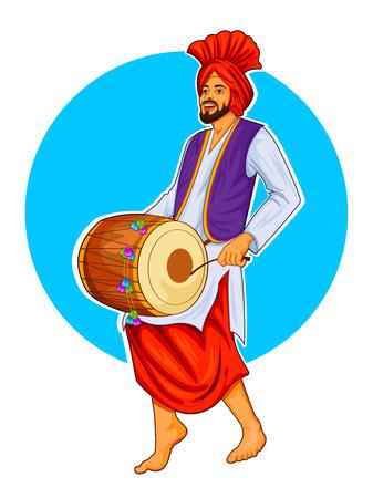 Sikh Punjabi Sardar playing dhol and dancing bhangra on holiday like Lohri or Vaisakhi