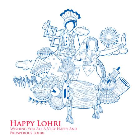 Happy Lohri holiday background for Punjabi festival