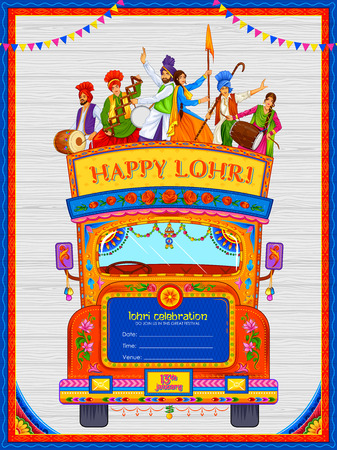 Happy Lohri holiday background for Punjabi festival