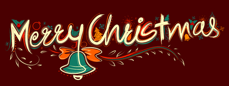Merry Christmas Lettering Design Set typography style greeting background Иллюстрация