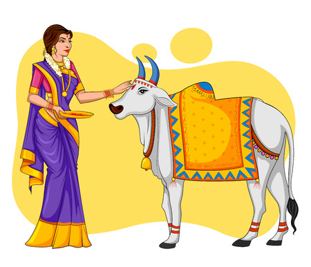 Happy Pongal holiday harvest festival of Tamil Nadu, South India greeting background.
