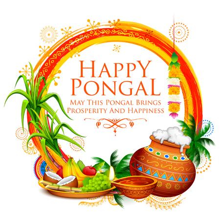 Szczęśliwy Pongal święto dożynek w Tamil Nadu, południowe Indie pozdrowienia tło.