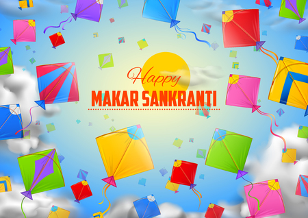 illustration of Makar Sankranti wallpaper with colorful kite for festival of India Banco de Imagens - 91795018