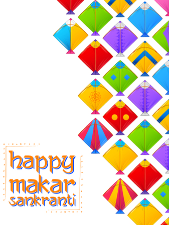Happy Makar Sankranti wallpaper with colorful kite string for festival of India  イラスト・ベクター素材
