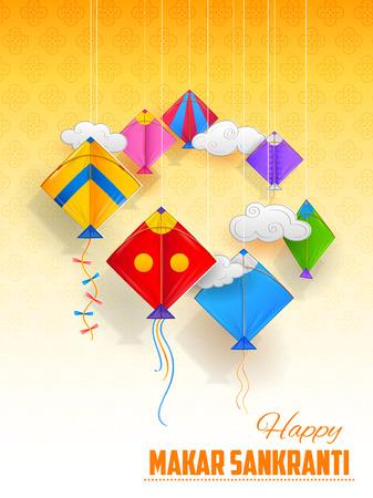 Happy Makar Sankranti wallpaper with colorful kite string for festival of India Stock Vector - 91797314