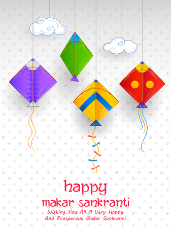 Happy Makar Sankranti wallpaper with colorful kite string for festival of India 向量圖像