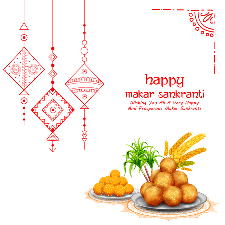 Makar Sankranti wallpaper with colorful kite for festival of India Ilustracja