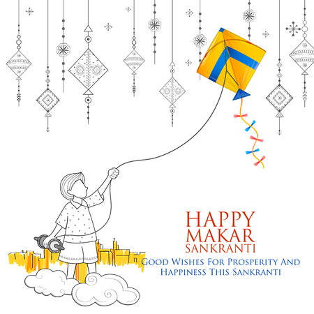 Happy Makar Sankranti wallpaper with colorful kite string for festival of India Stok Fotoğraf - 91805153