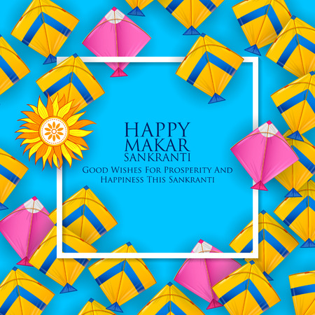 Happy Makar Sankranti wallpaper with colorful kite string for festival of India 일러스트