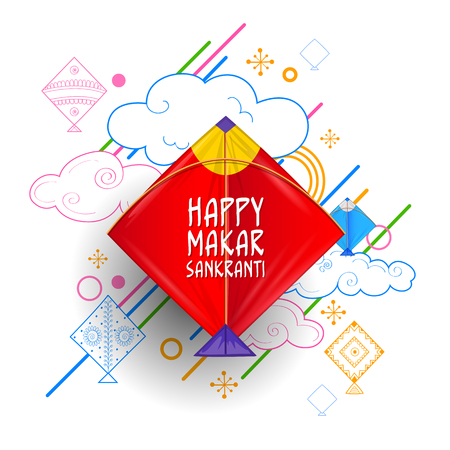 Happy Makar Sankranti wallpaper with colorful kite string for festival of India Ilustracja