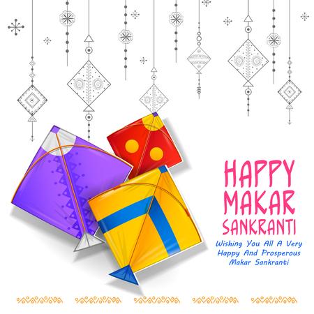 Gelukkig Makar Sankranti behang met kleurrijke kite string voor festival van India