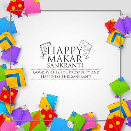 Happy Makar Sankranti wallpaper with colorful kite string for festival of India Vettoriali