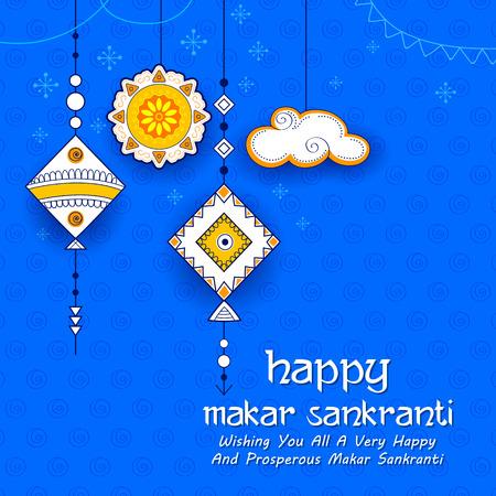 Glückliche Makar Sankranti Tapete mit bunter Drachenschnur für Festival von Indien Standard-Bild - 91805232