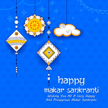 Happy Makar Sankranti wallpaper with colorful kite string for festival of India Çizim