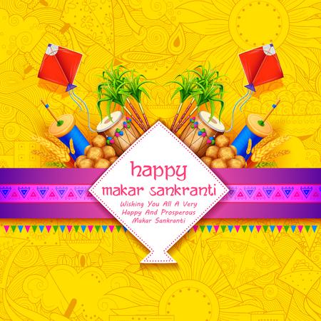 papier sankranti sankranti avec le cerf-volant coloré pour festival d & # 39 ; inde