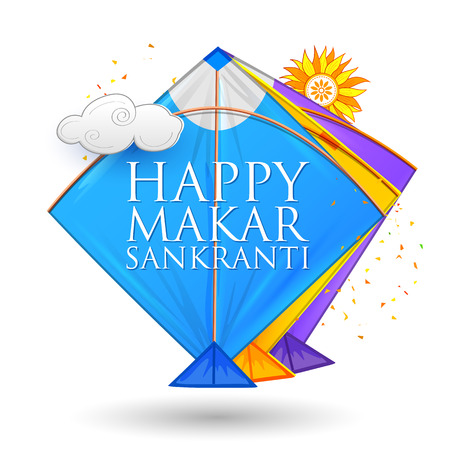 Happy Makar Sankranti wallpaper with colorful kite string for festival of India. Illustration