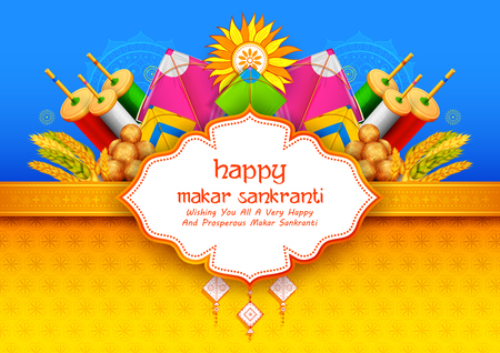 Makar Sankranti wallpaper with colorful kite for festival of India.