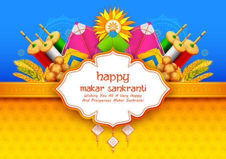 Makar Sankranti wallpaper with colorful kite for festival of India.