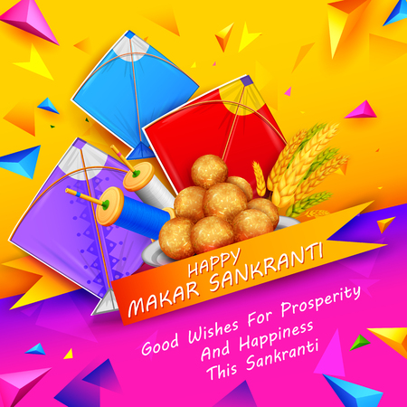 Makar Sankranti wallpaper with colorful kite for festival of India. Stock Vector - 91944604