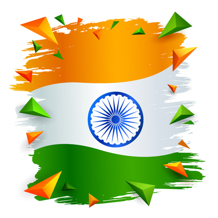 illustration of Tricolor Indian Flag background for Republic  and Independence Day of India Illustration