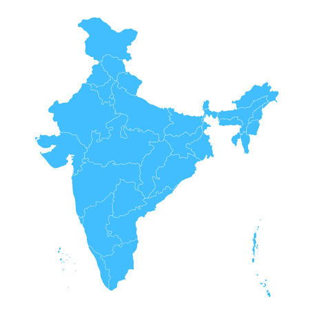 Detailed map of India, Asia with all states and country boundary Vectores
