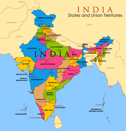 Detailed map of India, Asia with all states and country boundary 向量圖像
