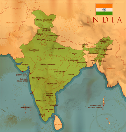 Detailed map of India, Asia with all states and country boundary Stock Illustratie