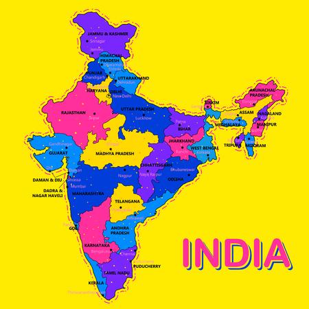 Carte détaillée de l'Inde, de l'Asie avec tous les états et limites du pays