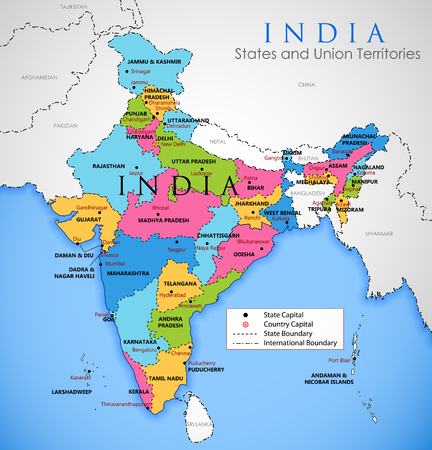 Detailed map of India, Asia with all states and country boundary Ilustracja