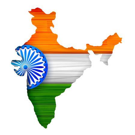Trójkolorowa flaga Indii tło mapy dla Republiki i Dzień Niepodległości Indii