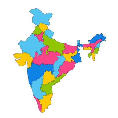 すべての州と国境を持つインド、アジアの詳細な地図  イラスト・ベクター素材