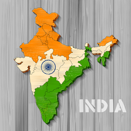 Tricolor Indiase vlag kaart achtergrond voor Republiek en Independence Day of India
