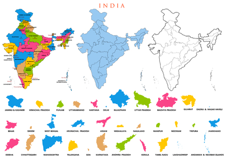 Detailed map of India, Asia with all states and country boundary Vettoriali