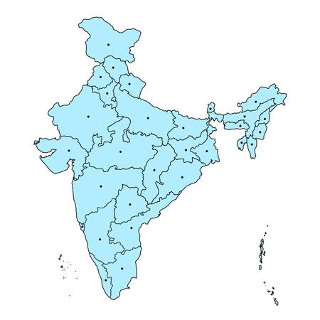 Gedetailleerde kaart van India, Azië met alle staten en landgrens