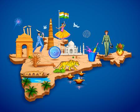 Gedetailleerde 3d kaart van India met verschillende monument en beroemde plaatsen