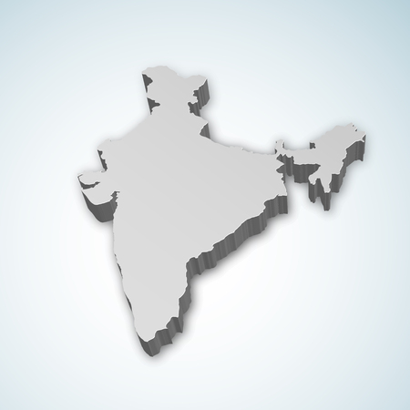 Gedetailleerde 3D-kaart van India, Azië Stockfoto