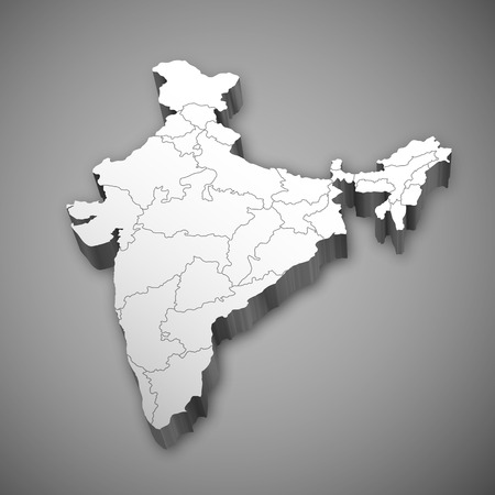 Carte 3d détaillée de l'Inde, l'Asie avec tous les états et la frontière du pays