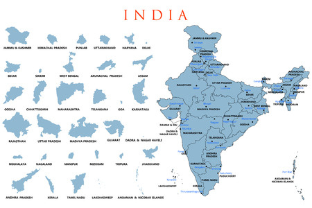 Detailed map of India, Asia with all states and country boundary Banque d'images