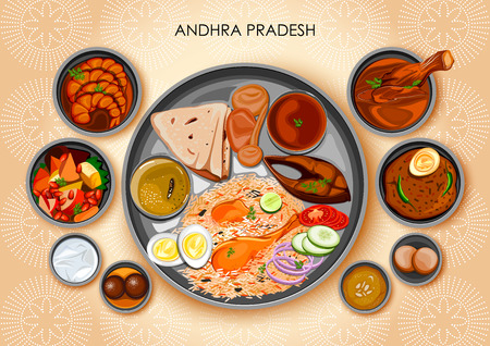 Illustration of Traditional Andhrait cuisine and food meal thali of Andhra Pradesh India