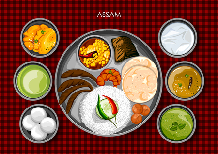 illustration of Traditional Assamese cuisine and food meal thali of Assam India