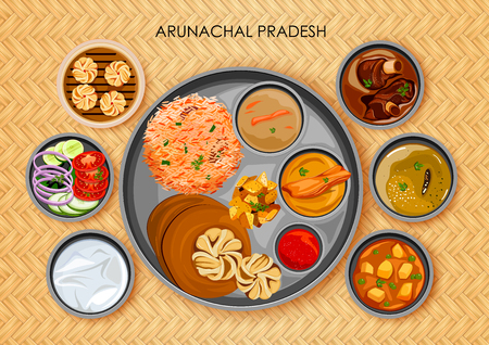 Traditional Arunachali cuisine and food meal thali of Arunachal Pradesh India