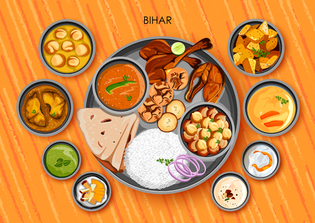 Illustration of Traditional Bihari cuisine and food meal thali of Bihar India