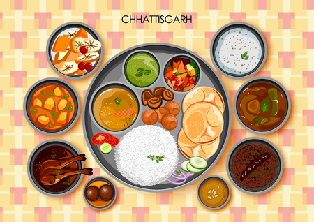 Traditional Chhattisgarhi cuisine and food meal thali of Chhattisgarh India