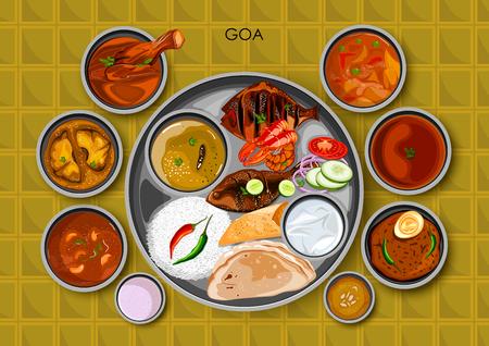 Traditional Goan cuisine and food meal thali of Goa India Illustration